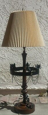 """Vintage Gothic Paul Hanson Metal Wood Table Lamp with original Shade 38"""" tall"""