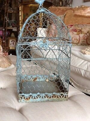 Bird Cage Vtg Style Aqua blue reproduction