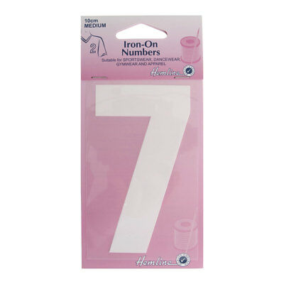 Hemline Iron-On Number 7 Suitable for Sport, dance, and Gym Wear | 10cm