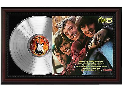 The Monkees - Platinum LP Record With Reprinted Autographs In Cherry Wood Frame