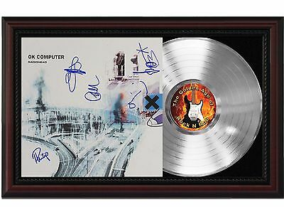 Radiohead - Platinum LP Record With Reprinted Autographs In Cherry Wood Frame