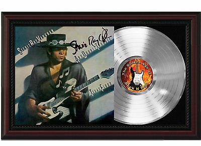 Stevie Ray Vaughan - Platinum LP Record With Reprinted Autograph In Wood Frame