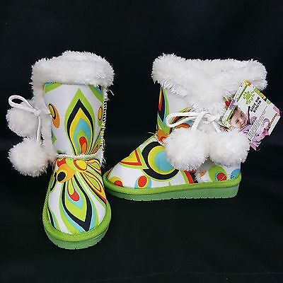 Dawgs Loudmouth Shagadelic Side Tie Furry Boots Water Slip Resistant Toddler 4/5