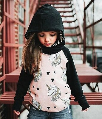 Child Unicorn Outerwear Girls Kids Tops Clothes Hoodie Pullover Jacket Coat 1-5Y