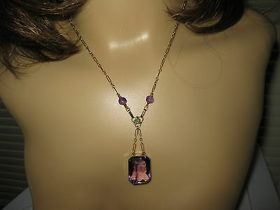 """Vintage 14k Yellow Gold Lavaliere Amethyst/Enameled Necklace, 16"""", 12.66tw"""