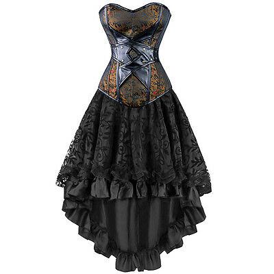 Gothic Victorian Steampunk Women Corset Dress Leather Overbust Corset Skirt