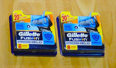 New 2 X Gillette Fusion Proshield Chill Pack of 8 Cartridges (16 Shaving Blades)
