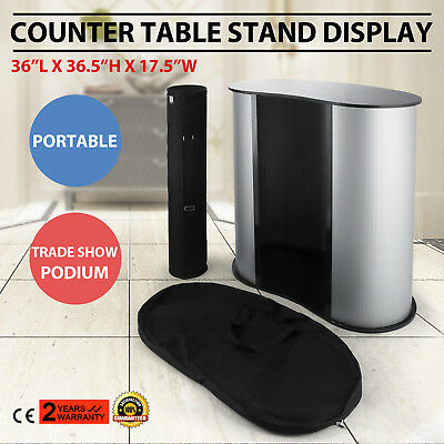 Black Portable Podium Impact Table Counter Stand Oval Bean Trade Show Display