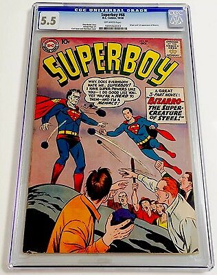 Superboy #68 CGC 5.5 OWP 1st Appearance Bizarro DC Silver Age KEY Tough In Grade