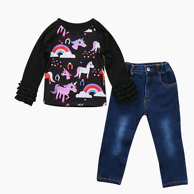 AU Stock Kids Baby Girl Unicorn Tracksuit Tops+ Jeans Pants 2PCS Outfits Clothes