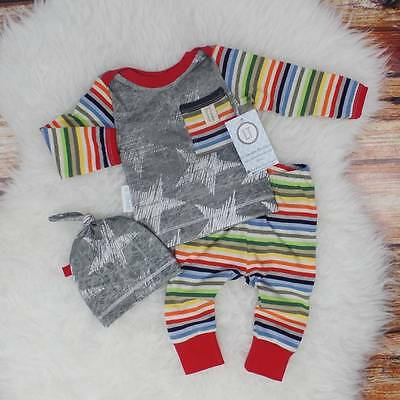 AU Stock Stripe Newborn Baby Girl Boy Tops Romper Long Pants Hat Outfits Clothes