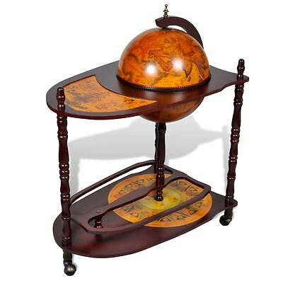 "39"" Globe Bar Wine Liquor Cabinet Storage Roller Cart Trolley w/ Table Old World"