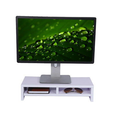 White Desktop Monitor Stand Shelf TV LCD Laptop Computer Screen Riser Free Ship