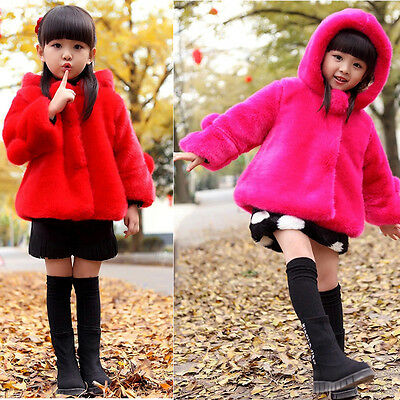 Toddler Kids Girls Faux Fur Snowsuit hooded Jacket Coat Kids Winter Warm Outwear