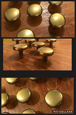 9 Knobs Pulls Round Antique Brass Drawer Cabinet Bin Mid Century Amerock Vintage