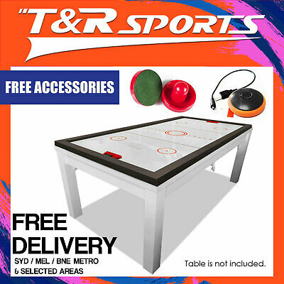 MACE 7FT 2-IN-1 Convertible Air Hockey Pool Table Black Frame with Blue Top