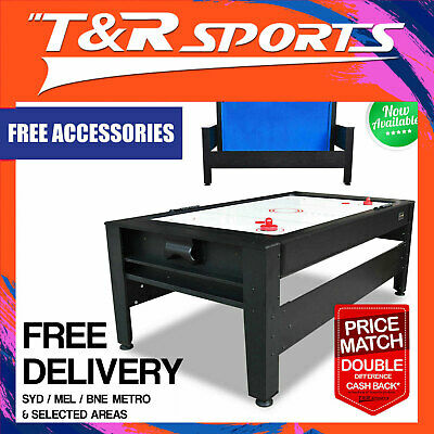 MACE 7FT 2-IN-1 Convertible Air Hockey Pool Table Black Frame with Red Top