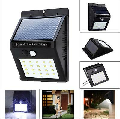 4x LED Solar Power PIR Motion Sensor Wall Light Outdoor Waterproof Garden Lamp