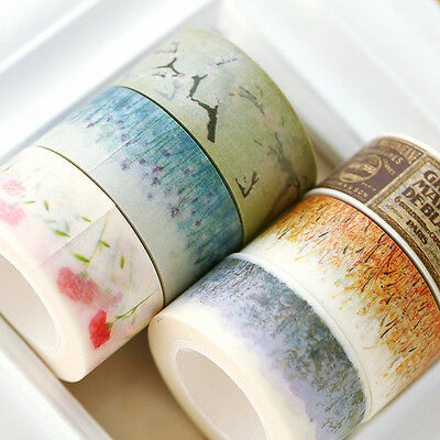 10m*2cm Retro Flower Washi Paper Tape Masking Decorative Adhesive Tapes Roll DIY