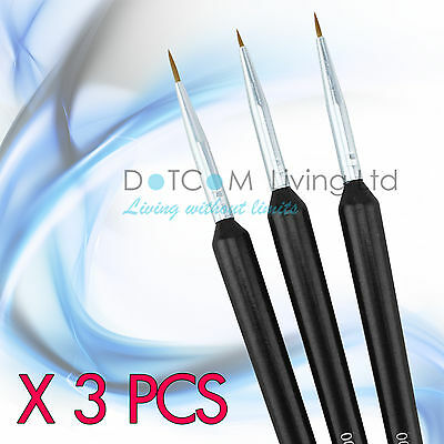 3pcs Tiny Acrylic Nail Art Design Decoration Brush Painting Drawing Pen Tool