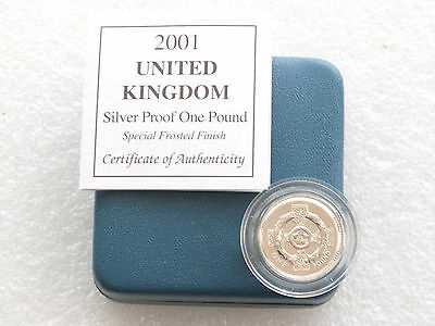 2001 Special Irish Celtic Cross £1 One Pound Silver Matt Proof Coin Box Coa