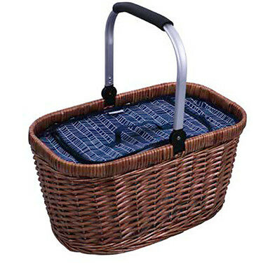 Avanti Insulated Carry Basket with Navy Herringbone Pattern Picnic RRP $74.