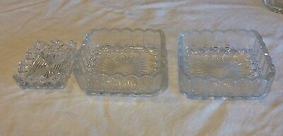 3 Rectangular Glass Trinket Pin Or Dressing Table Dishes