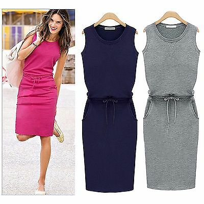Girls Jersey Casual Sleeveless Dress Age 13 - 15 year Navy Grey HotPink