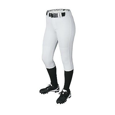 (Large, Team White) - DeMarini Girls Belted Pant. Shipping Included