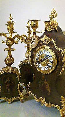 Antique French Boulle Style Florally and Gilt Decorated Mantel Clock Garniture