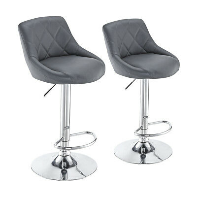 2 x Bar Stools Faux Leather Barstool Kitchen Pub Stool Breakfast Bar Chair UK