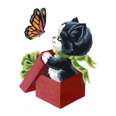 COLLECTION D'ART | Printed Canvas: Kitten and Butterfly |CD3193