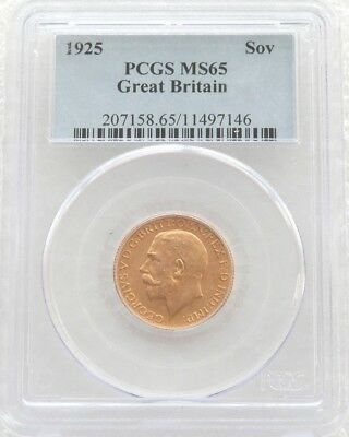 1925 British Elizabeth II St George Gold Full Sovereign Coin PCGS MS65