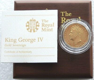 1829 Royal Mint George IV Shield Gold Full Sovereign Coin Box Coa