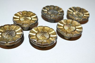 6 Vintage Drawer Pull Knob ART DECO Atomic Starburst Brass Lot K34