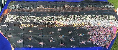 PURE SILK Antique Vintage Sari REMNANT Fabrics 100 GRAMS Black bundle