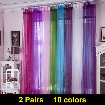 2X Plain Net Voile Curtains Top Panels Rod Room Fly Screen Many Sizes Colours
