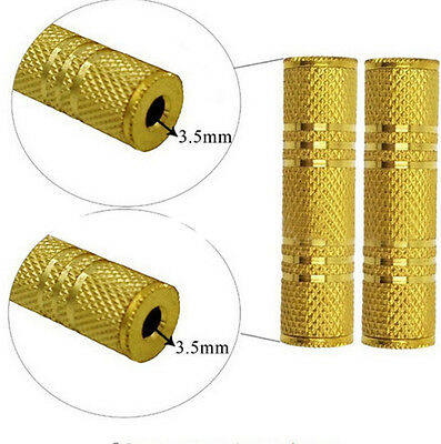 """3.5mm 1/8"""" Aux Stereo Female to Female F/F Gold Audio Coupler Adapter Jack Newly"""