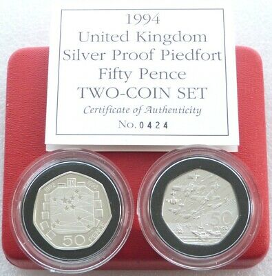 1994 Royal Mint Piedfort D-Day Presidency 50p Silver Proof 2 Coin Set Box Coa