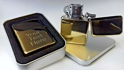 Engraved GOLD Personalised Lighter Star Petrol boxed birthday Mother's Day gift