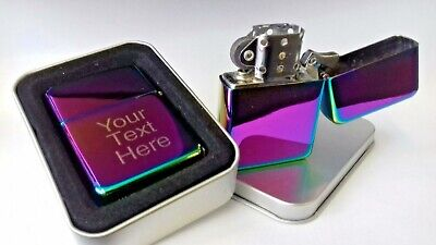 Engraved RAINBOW Personalised Petrol Lighter Birthday Valentines  Present gift