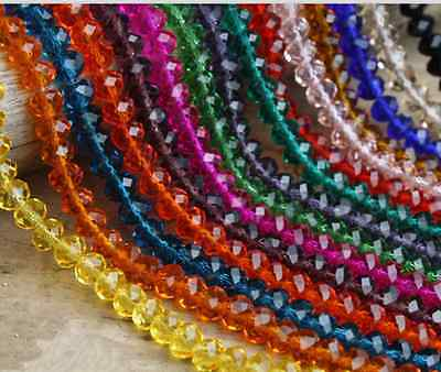 3mm/4mm/6mm/8mm/10mm Rondelle Faceted Crystal Glass DIY Spacer Loose Beads