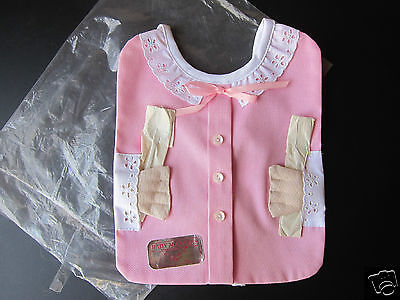 NEW 1950's Novelty Baby Girl Bib with Silverplate Spoon & Fork by Davida, L.A.;