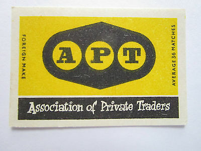 APT Association of Private Traders Safety Matches Label Allumette Czechoslovakia