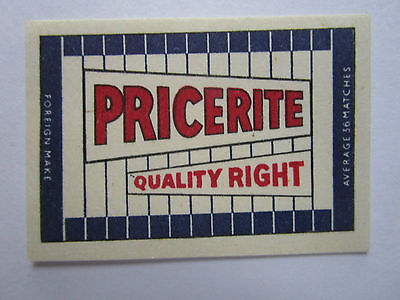 Pricerite Quality Right Safety Matches Label Allumette étiquette Czechoslovakia