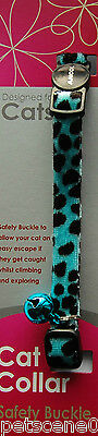 Ancol Plush Leopard Print Cat Collar Blue & Black safety buckle + Bell