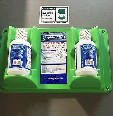 Emergency Eye and Skin Wash Station 2 16 oz Bottles Wall Mountable Set Kit Rinse