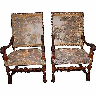 Pair of Early 20th Century French Carved Fauteuil Tapestry Armchairs