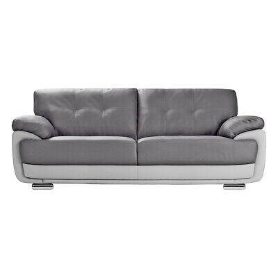 MANSFIELD Modern Two-Tone Grey Leather Sofas 3 + 2 Seaters + Armchairs