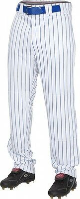 (Large, White/Royal) - Rawlings Youth Semi-Relaxed Pants with Pin Stripe Design